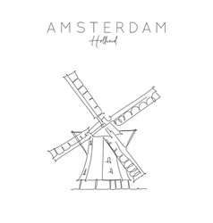 poster holland windmill vector image