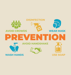prevention concept with icons and signs vector image