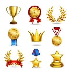 Realistic award icons set vector image vector image