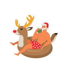 Santa claus on summer vacation with reindeer vector