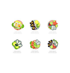 seafood dishes set shrimps mussels oysters vector image