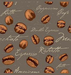 seamless repeating coffee bean pattern vector image