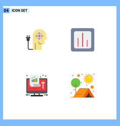 Set 4 flat icons on grid for boosting vector