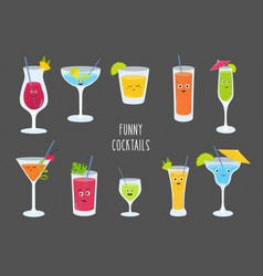 Set colorful alcohol and soft drinks cocktail vector