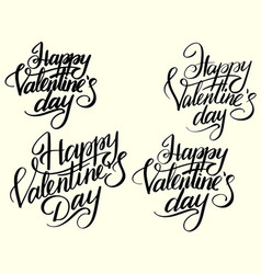 set happy valentines day typographic lettering vector image