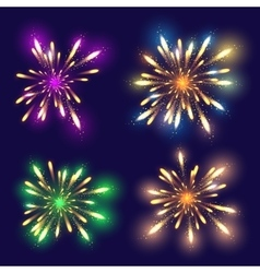 Set of 4 realistic fireworks different colors vector image