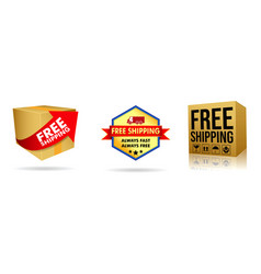 set of cardboard box of free shipping vector image