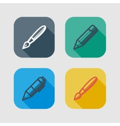 set of drawing and writing tools flat icons with vector image