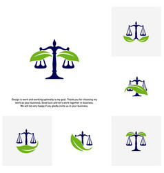 Set of nature law firm logo template green scales vector