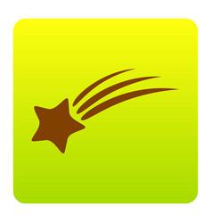 shooting star sign brown icon at green vector image