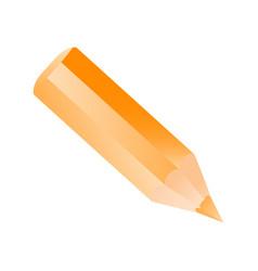 short small pencil icon realistic style orange vector image