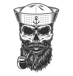 Skull with beard and pipe vector