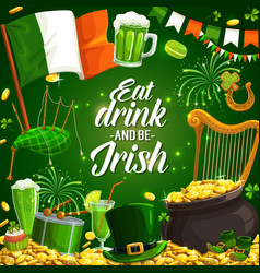 St patricks day spring holiday music beer feast vector