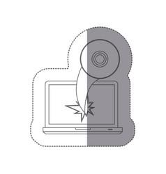 sticker monochrome silhouette broken front view vector image