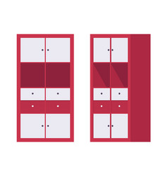 Storage cabinet office in red vector