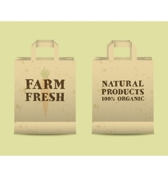 Stylish Farm Fresh paper bags template Mock up vector image