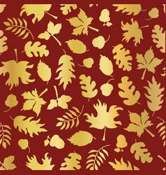 Thanksgiving gold foil autumn leaf pattern tile vector