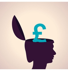 Thinking concept-Human head with pound symbol vector image