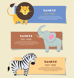 Three african wild animals nursery color cards vector