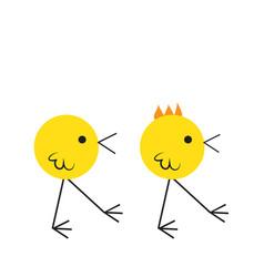 Two cute birds eating crumbs on the floor flat vector