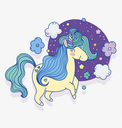 unicorn flowers clouds stars fantasy magic cartoon vector image