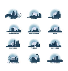 usa cities icons set skyline logo pack vector image