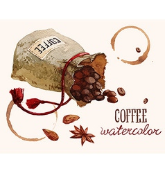 Watercolor bag with coffee beans vector