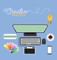 working process tools vector image