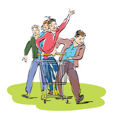 Young people with a grocery cart vector