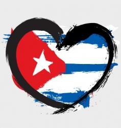 Cuba heart shape flag vector image