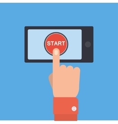 Hand pushing start button on the smartphone vector image