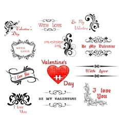 Love and Valentine Day calligraphic headers vector image vector image