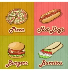 Set of Retro Fast Food Cards vector image vector image