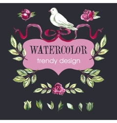 Watercolor Floral Set of Design Elements vector image vector image
