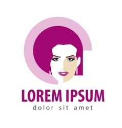 beauty salon logo design template woman vector image