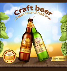 glass green and brown bottles with craft beer vector image vector image