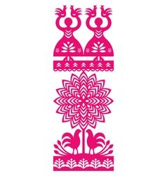 Polish folk art pattern Wycinanki Kurpiowskie vector image