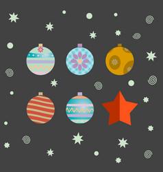 set of retro decorative christmas balls vector image