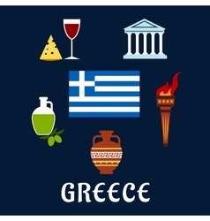 Traditional Greece symbols and culture icons vector image vector image