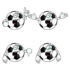 Crying cartoon football set vector image