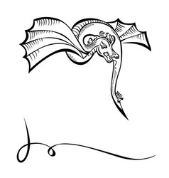 fancy fabulous flying animal dragon black vector image vector image