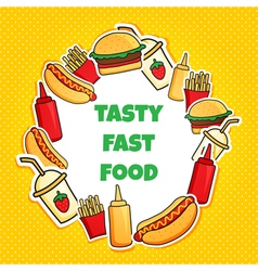 fast food wreath new vector image