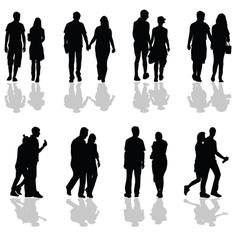 people walking in pairs silhouette vector image vector image