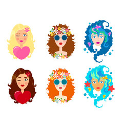 set of faces of cute girls with smile cartoon and vector image