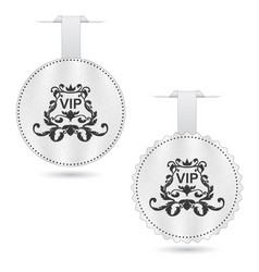set of two elegant white vip dices with ornament vector image vector image