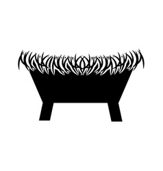 Straw cradle manger christianity element icon vector