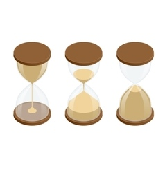 Collection of hourglasses on white background vector image vector image