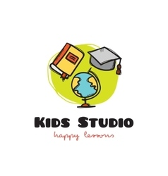 funny cartoon style educational logo with vector image vector image