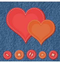 Jeans background with two hearts vector