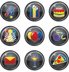 party icon buttons vector image vector image